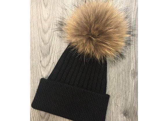 Wool & Cashmere Beanie Black/Natural