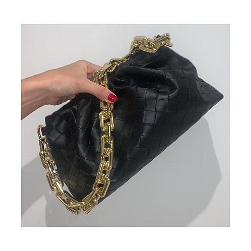 Loretta Woven Pouch Bag Black