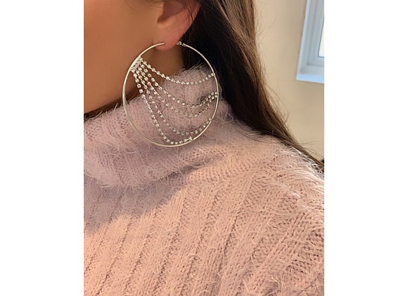 Disco Diamanté Hoops Silver