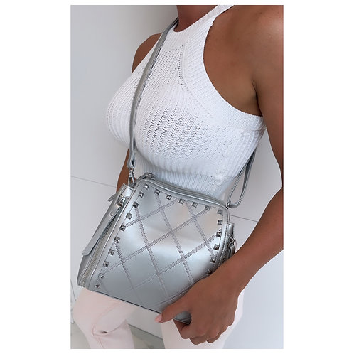 Fifi Studded Across Body Bag Silver