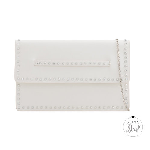 White Studded Hand Strap Clutch