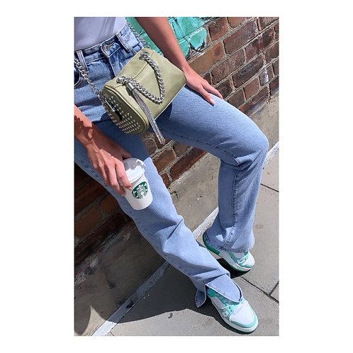 Crystal Tassel Across Body Bag Khaki