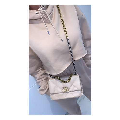 Mixed Metal Quilted Messenger Beige