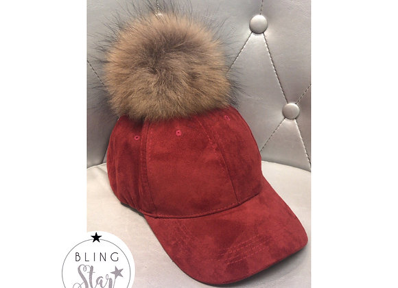 Red & Natural Pom Cap