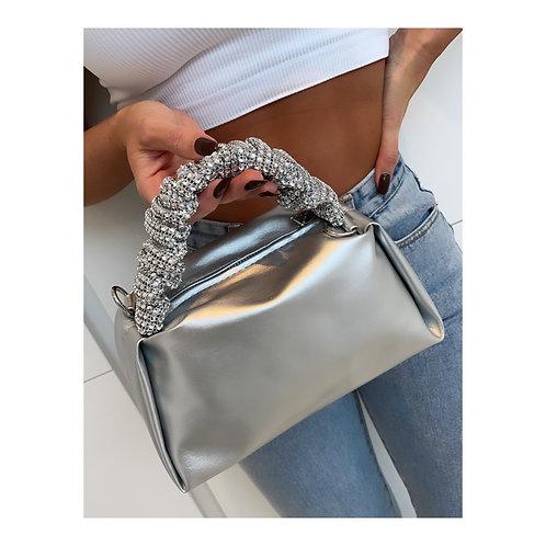 Luella Diamanté Ruched Handle Silver