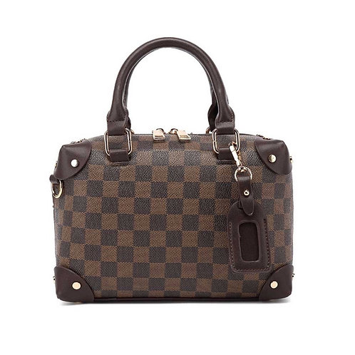 Camilla Chequer Box Bag Brown