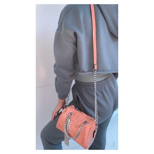 Crystal Tassel Across Body Bag Pink