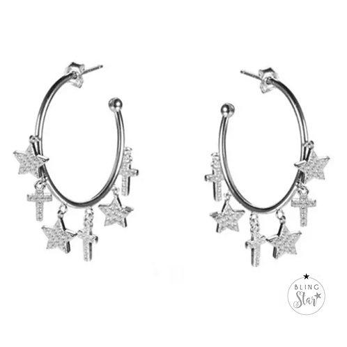 Star & Cross Charm Hoops Silver