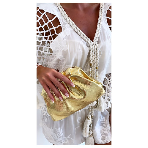 Lucia Metallic Pouch Bag Gold