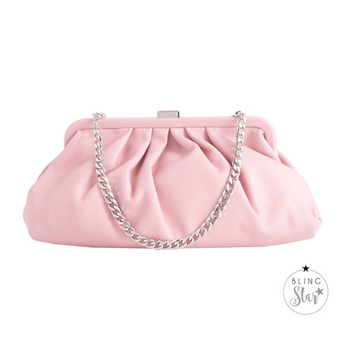 Baby Silver Chain Pouch Pink