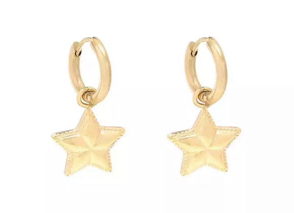 Small Simple Star Hoops Gold