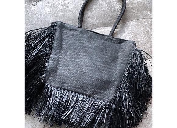 Raffia Noir Straw Bag