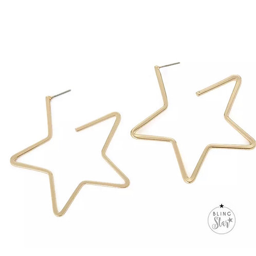 Cut Out Star Earrings Gold