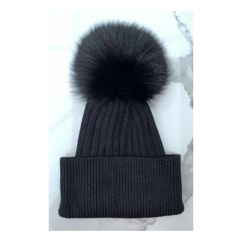 Black Fur Pom Pom Beanie