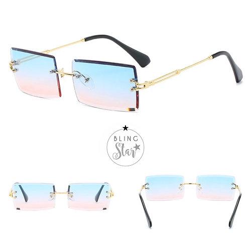 Cher Rectangle Sunglasses Pink/Blue