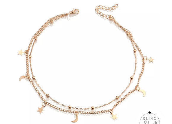 Star & Moon Double Layer Chain Gold