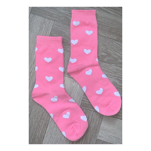 Heart Socks Pink & White