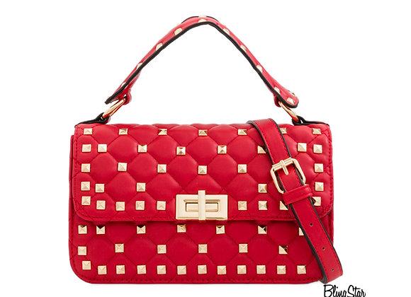 Billie Studded Messenger Red