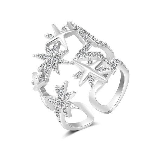 Dream Star Cluster Ring (Resizable) Silver