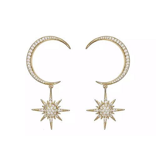 Crescent Diamanté Earrings Gold