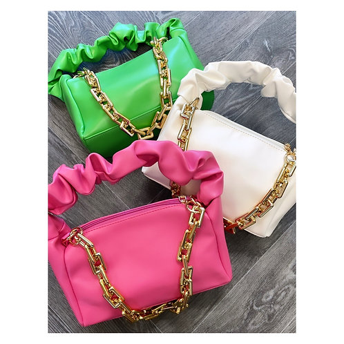 Chunky Chain Ruffle Handbag