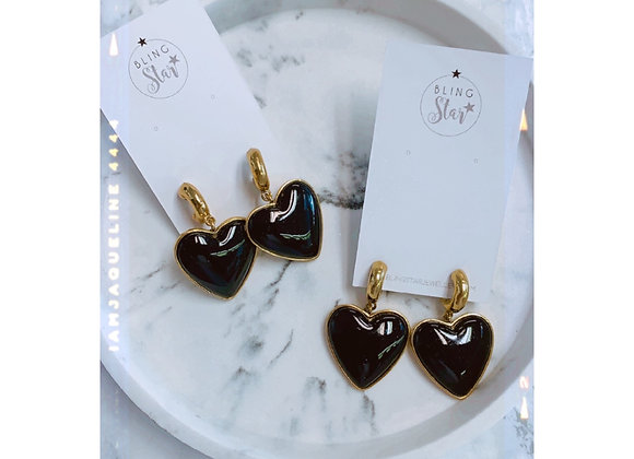 Black Chunky Heart Earrings