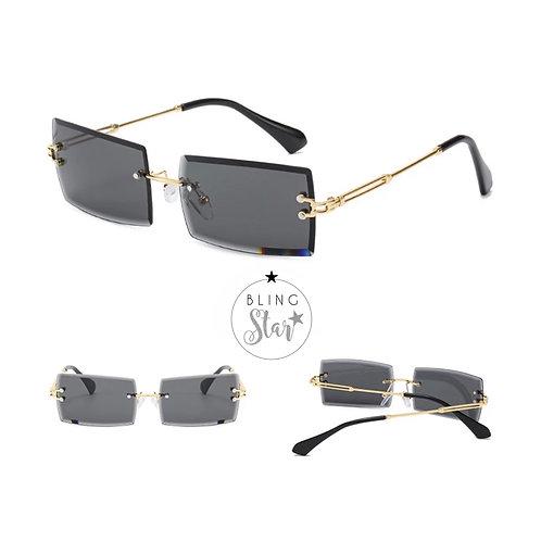 Cher Rectangle Sunglasses Black