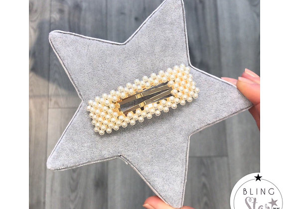 Oversized Rectangle Pearl Clip