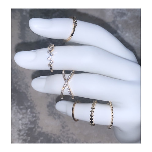 Zig Zag Ring Pack (Gold)