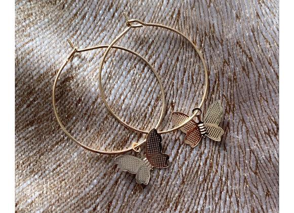 Butterfly Hoops Gold