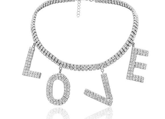 L O V E Diamanté Chocker Silver