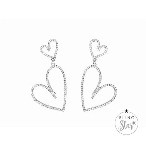 Hand Drawn Diamanté Hearts Silver