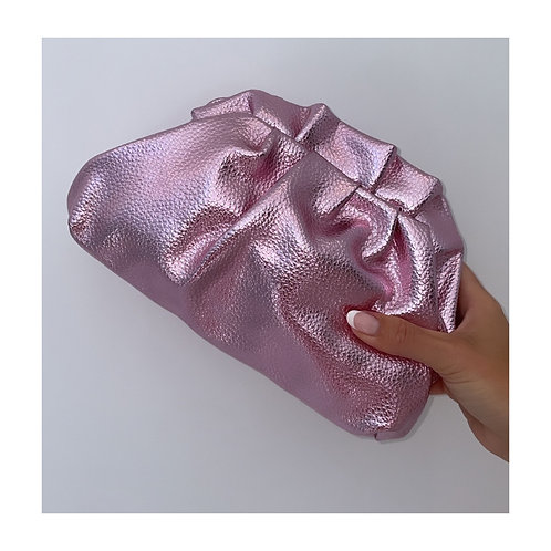 Lucia Metallic Pouch Bag Pink