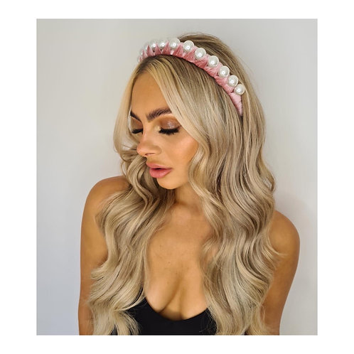 Sofia Velvet Wrapped Pearl Headband Pink