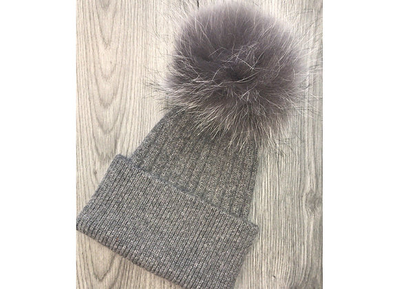 Wool & Cashmere Beanie Grey/Silver Fox