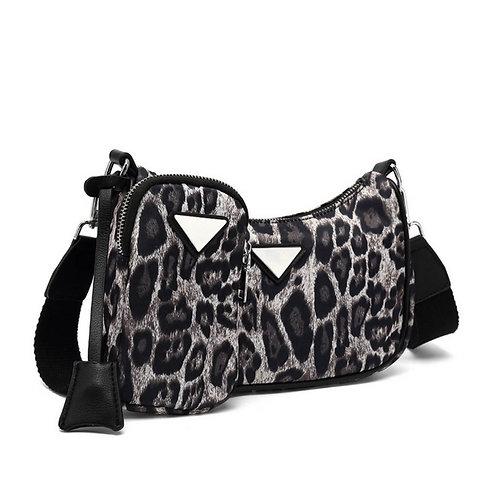Grey Leopard Multi Pouch Bag