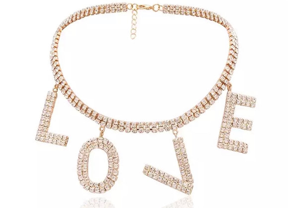 L O V E Diamanté Chocker Gold