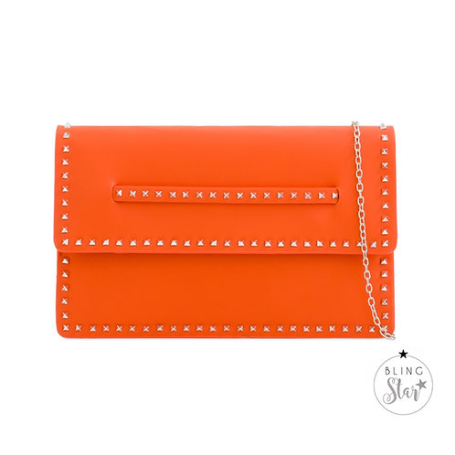 Orange Studded Hand Strap Clutch