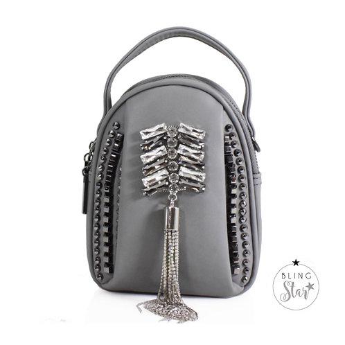 Rhianna Diamond Tassel Bag Grey