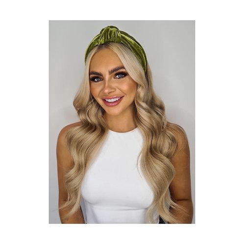 Dolce Oversized Velvet Knot Headband Green