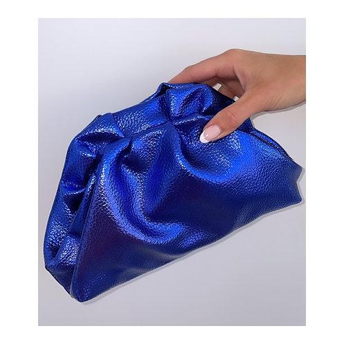 Lucia Metallic Pouch Bag Blue