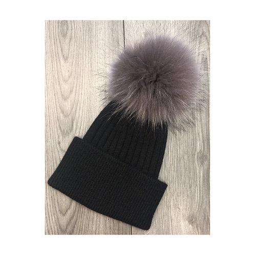 Wool & Cashmere Beanie Black/Silver Fox