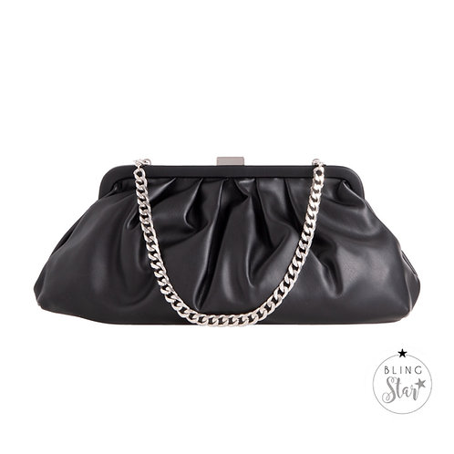 Baby Silver Chain Pouch Black