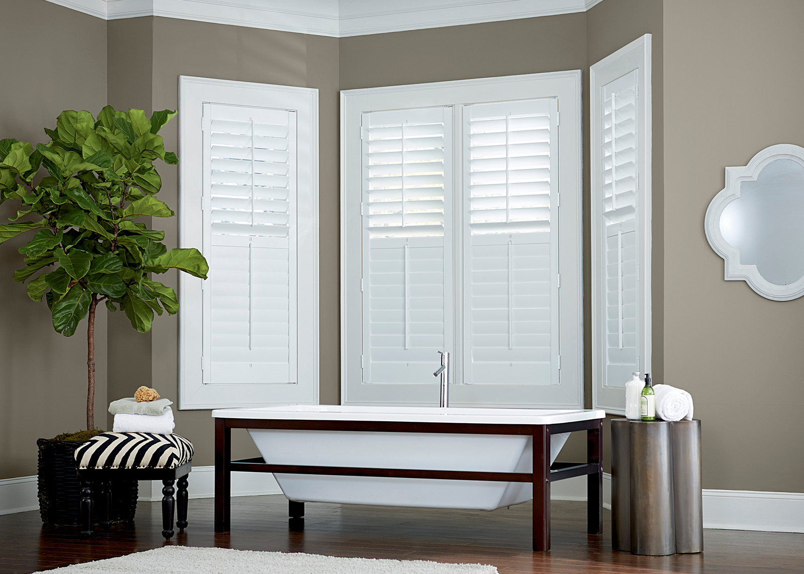 Bay Window Plantation Shutters In Master Bath