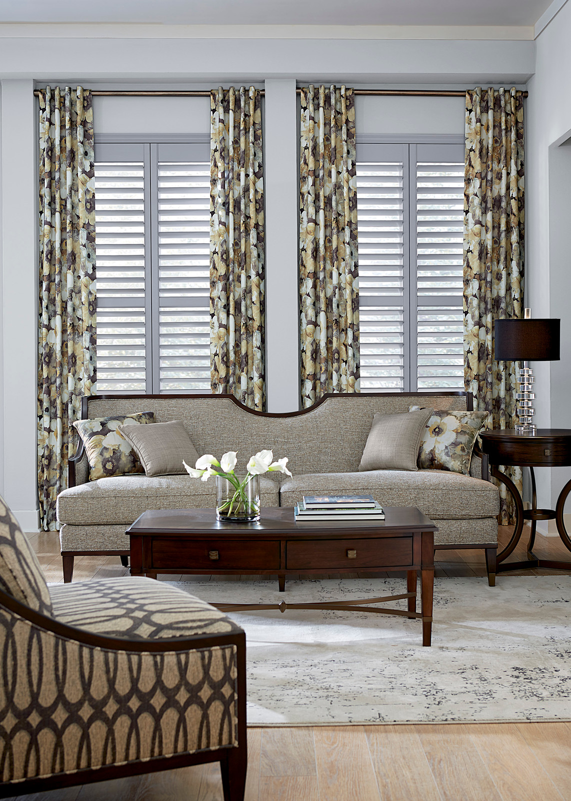 Plantation Shutters In Formal Living Room