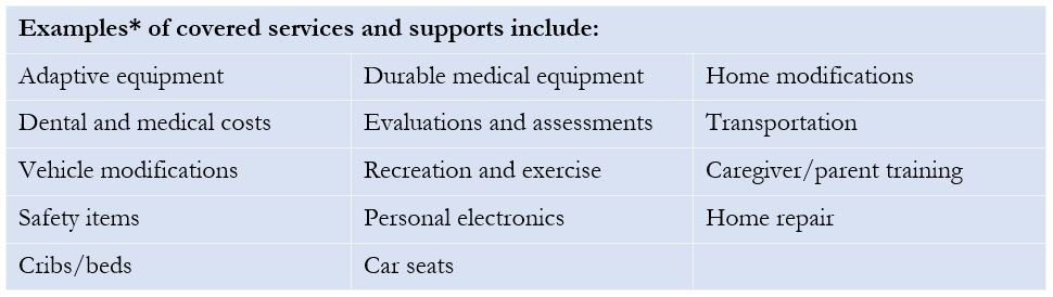Examples of covered services and supports