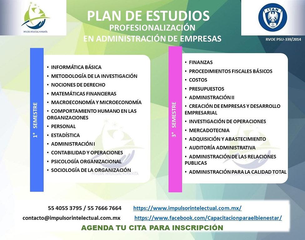 Plan de Estudios, Profesionalización  en
