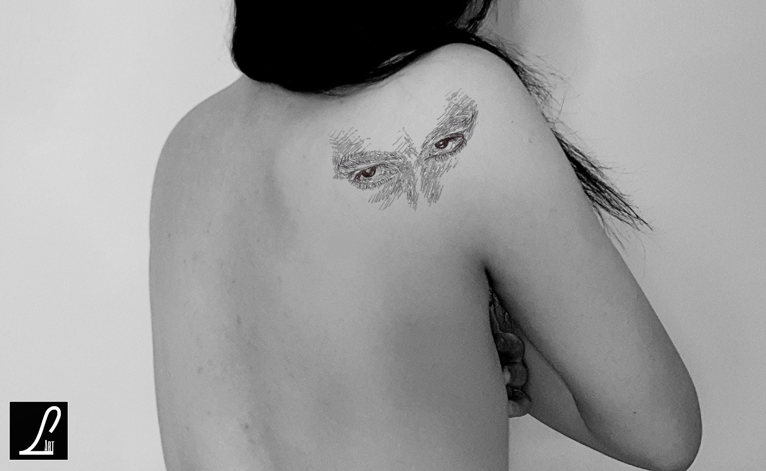 TATTOO BACK,SHOUDTER -  DARK EYES