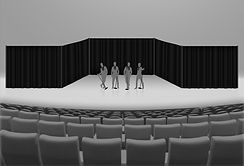 Singing group performing a concert vector graphic with pipe and drape.