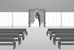 Wedding graphic of couple getting married with pipe and drape.